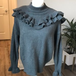Pixie market gray sweater with ruffles